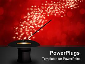 Magic wand performing tricks on a top hat with stars powerpoint theme