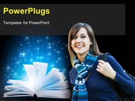 PowerPoint template displaying college girl prepared for scholl with glow from open book
