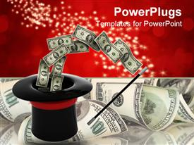 PowerPoint template displaying black magicians hat and a wand with dollar bills