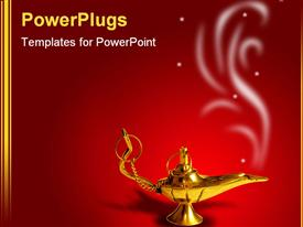 PowerPoint template displaying golden Arabic magic lamp on red background with smoke in the background.