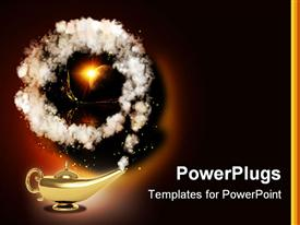 PowerPoint template displaying symbol performance of desires - magic lamp in the background.