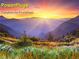 PowerPoint template displaying a beautiful scenery of greenery and mountains