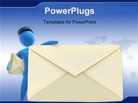 Postman holds up huge envelope. Concept of delivering mail and communication powerpoint design layout