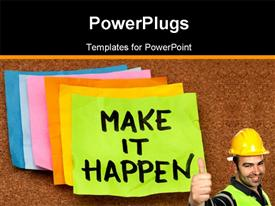 PowerPoint template displaying a construction worker who is happy