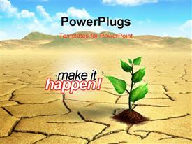 PowerPoint template displaying a green plant in the soil with barren land alongside