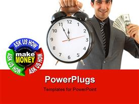 PowerPoint template displaying a business man holding up a clock and some dollar bills