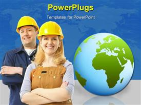 PowerPoint template displaying contractor people in yellow uniform. Over blue background
