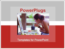 PowerPoint template displaying attractive woman doing lips makeup over grey and red background colors in the background.
