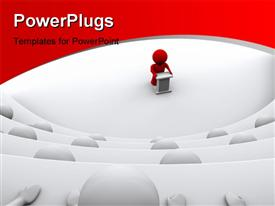 PowerPoint template displaying red character standing by a lectern facing an audience of white characters sitting in five levels in the background.