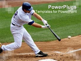 PowerPoint template displaying a baseball  player hitting the ball with full force