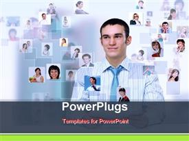 PowerPoint template displaying lots of tiles with lots of people and a smiling man