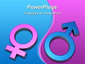 PowerPoint template displaying 3D gender symbols, pink female symbol on blue background and blue male symbol on pink background