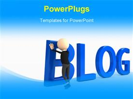 PowerPoint template displaying person creating blog in the background.