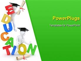 PowerPoint template displaying man with diploma on text education. 3D