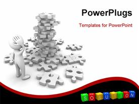 PowerPoint template displaying computer generated depiction of man facing a puzzle mountain