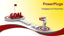 PowerPoint template displaying scene with a rounding platform and a man that work with cubes for build his goal