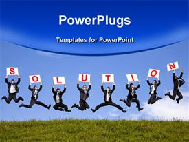 PowerPoint template displaying a number of people jumping in the air and presenting the solution