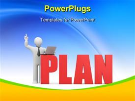 PowerPoint template displaying 3D man with laptop over blue background with text PLAN