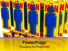 PowerPoint template displaying fine 3D depiction of man power worker metaphor