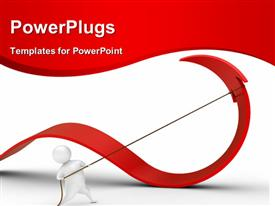 PowerPoint template displaying cartoon 3D man pulling red arrow with rope