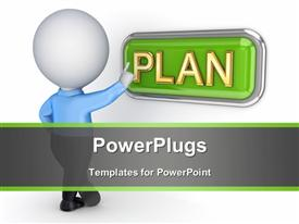 PowerPoint template displaying a person with the word plan