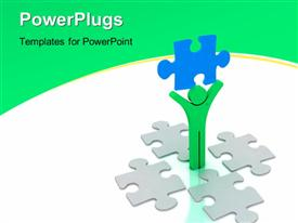 PowerPoint template displaying green 3D man lifts up blue colored puzzle piece on white background