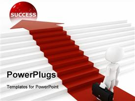 PowerPoint template displaying businessman with briefcase following red arrow and climbing stairs to reach the red success ball