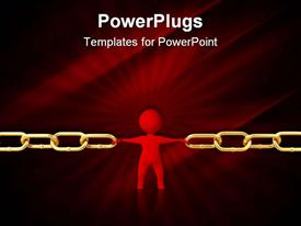 PowerPoint template displaying red man restrains break the chain