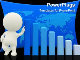 PowerPoint template displaying animated white human figure leaning on blue bar charts