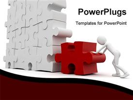 PowerPoint template displaying a person soling the puzzle with white background