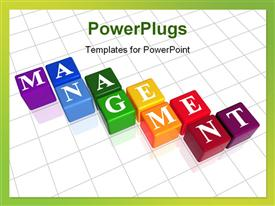 PowerPoint template displaying colorful boxes with word management over white background