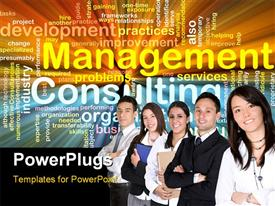 PowerPoint template displaying group of professionals with management and consulting terms on black background