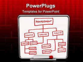 PowerPoint template displaying white board with drawing of management chart in red permanent marker
