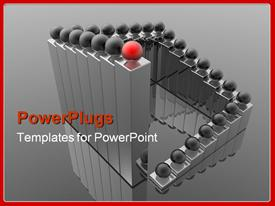 PowerPoint template displaying animated layers of metallic bars with red and black balls
