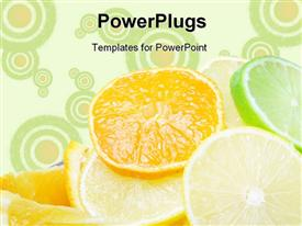 PowerPoint template displaying a number of pieces of lemon and oranges