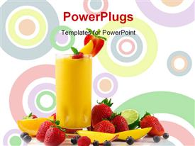 PowerPoint template displaying colored circles in background with transparent glass cup filled with smoothie
