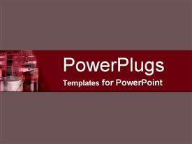 PowerPoint template displaying a plain off whine colored surface with an industrial site in the corner