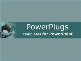 PowerPoint template displaying green and blue close-up of internal thread on metal