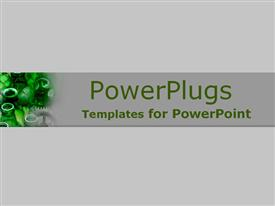 PowerPoint template displaying small depiction of green and gray gears and bottles on gray background