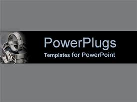 PowerPoint template displaying shining steel engine parts on gray and black background