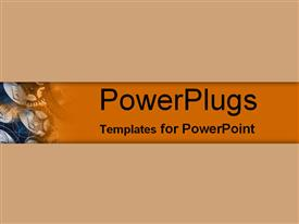 PowerPoint template displaying tan and orange overlays of aluminum cans and fogs