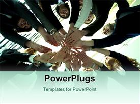 PowerPoint template displaying arms hands and fingers of business people in circle in the background.