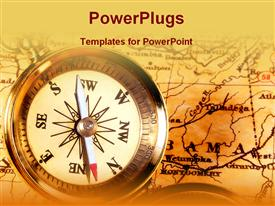 PowerPoint template displaying compass on top of map on vintage looking background