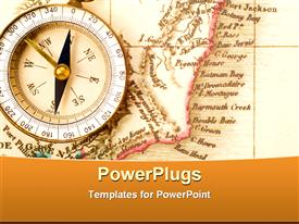 PowerPoint template displaying compass to show the right path and map