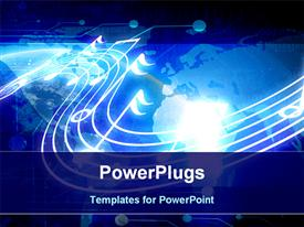 PowerPoint template displaying music technology, notes and binary on world map