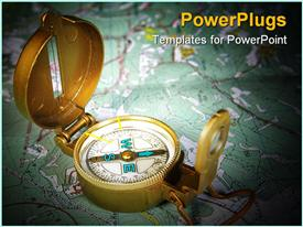 PowerPoint template displaying navigation and travel theme showing compass placed on plain map