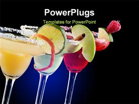 PowerPoint template displaying three Margaritas - apple orange and raspberry - in chilled glasses