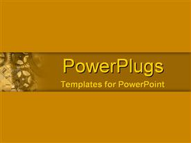 PowerPoint template displaying small depiction of mechanical gears and old style clock with brown background