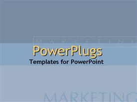 PowerPoint template displaying marketing text blurred on grey and blue