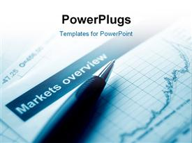PowerPoint template displaying pen with a graph. blue toned